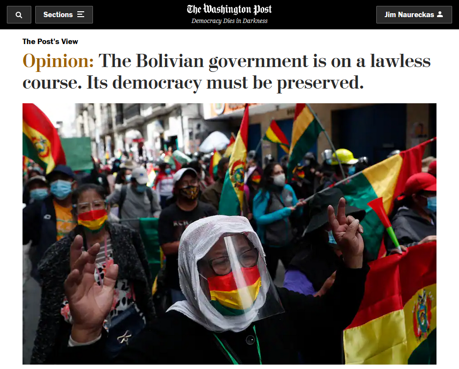 WaPo: The Bolivian government is on a lawless course. Its democracy must be preserved.