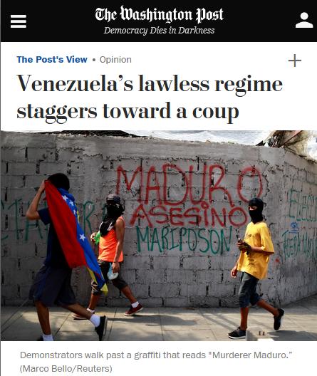 WaPo: Venezuela's lawless regime staggers toward a coup