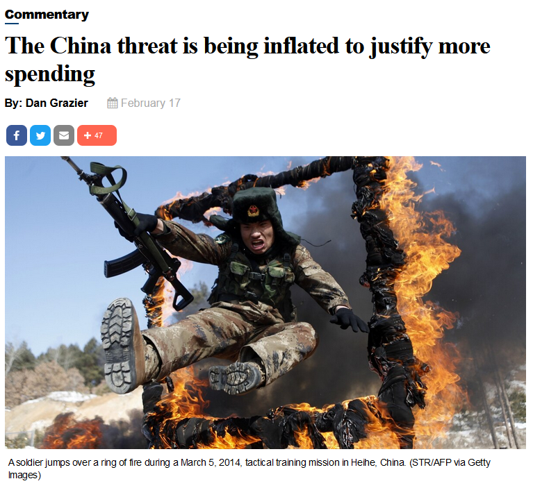 Defense News: The China threat is being inflated to justify more spending