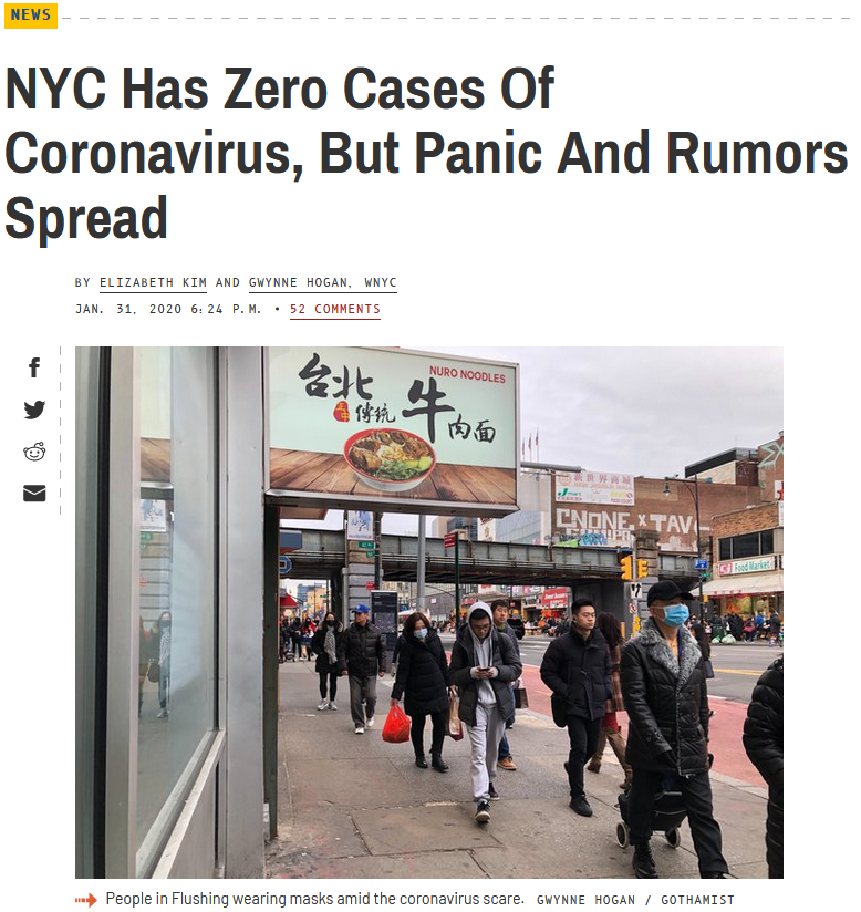 Gothamist: NYC Has Zero Cases Of Coronavirus, But Panic And Rumors Spread