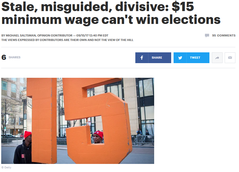 Hill: Stale, misguided, divisive: $15 minimum wage can't win elections