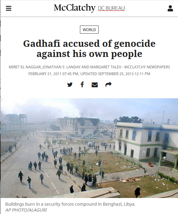 McClatchy: Gadhafi Accused of Genocide Against His Own People