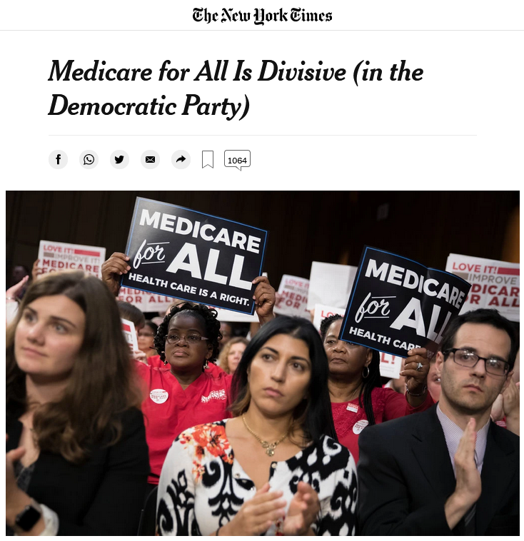 NYT: Medicare for All Is Divisive (in the Democratic Party)