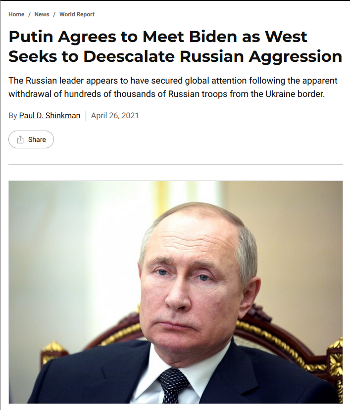 US News: Putin Agrees to Meet Biden as West Seeks to Deescalate Russian Aggression