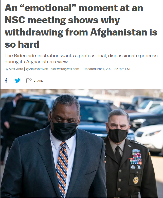 "Vox: An ""emotional"" moment at an NSC meeting shows why withdrawing from Afghanistan is so hard"