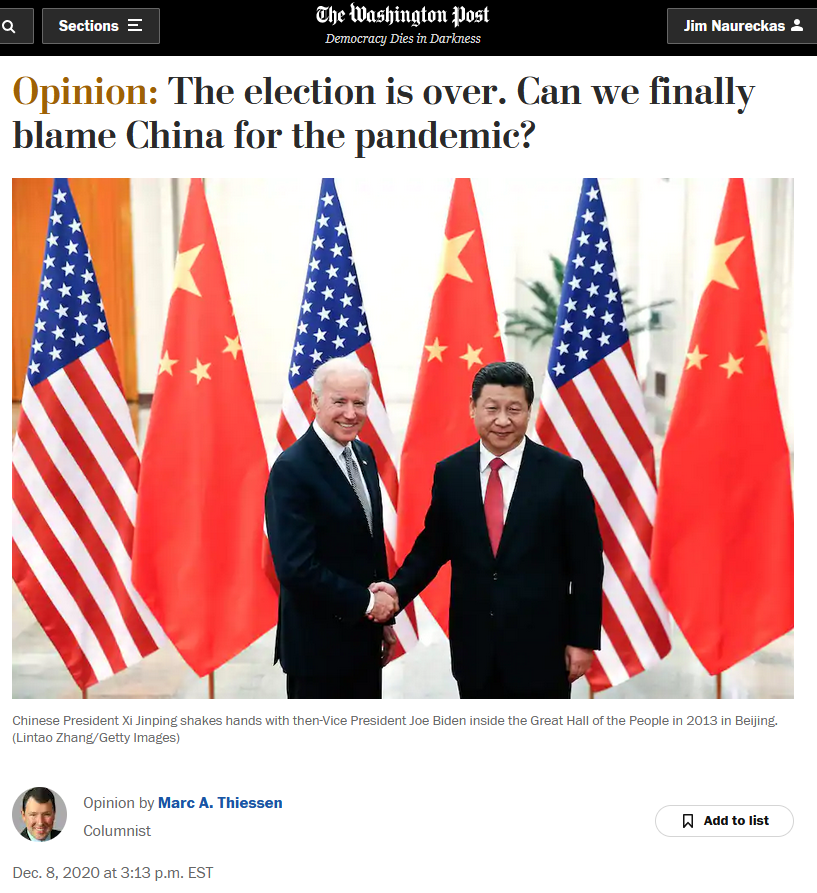 WaPo: The election is over. Can we finally blame China for the pandemic?
