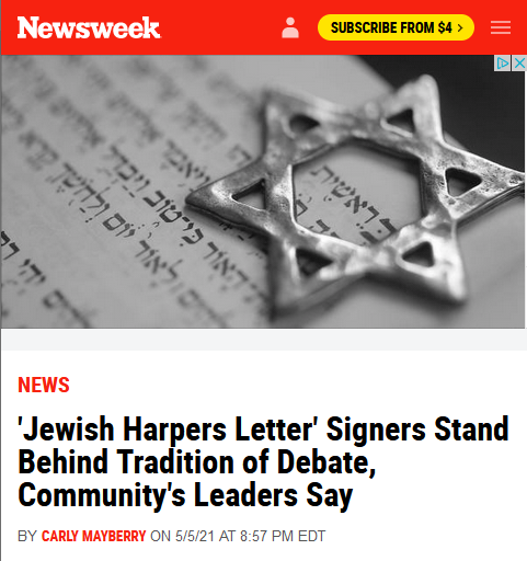 Newsweek: 'Jewish Harpers Letter' Signers Stand Behind Tradition of Debate, Community's Leaders Say