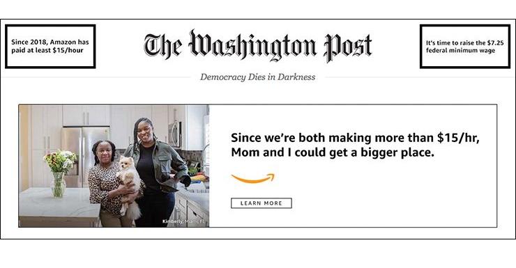 Amazon ad on the Washington Post homepage