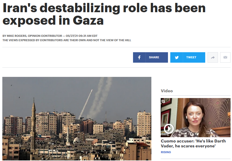 Hill: Iran's destabilizing role has been exposed in Gaza