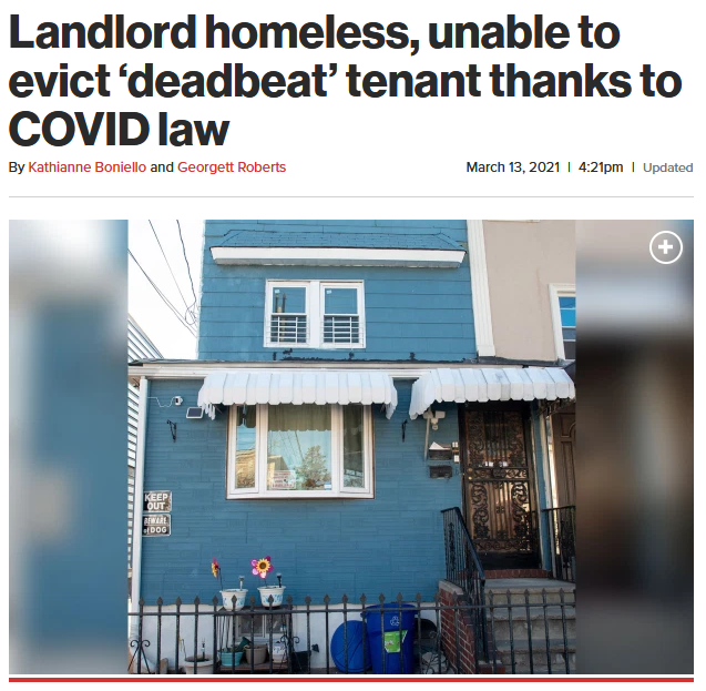 NY Post: Landlord homeless, unable to evict 'deadbeat' tenant thanks to COVID law
