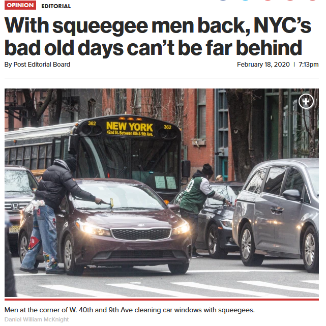 NY Post: With squeegee men back, NYC's bad old days can't be far behind