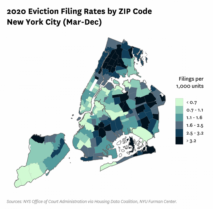 NYC Eviction rates by zip code