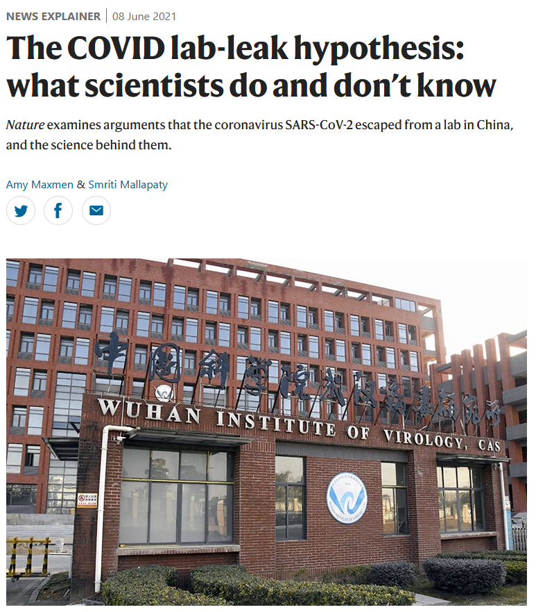 Nature: The COVID lab-leak hypothesis: what scientists do and don't know