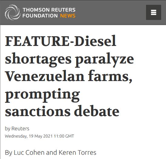 Reuters: Diesel shortages paralyze Venezuelan farms, prompting sanctions debate