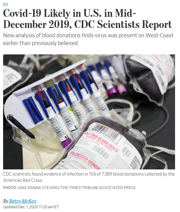 WSJ: Covid-19 Likely in U.S. in Mid-December 2019, CDC Scientists Report
