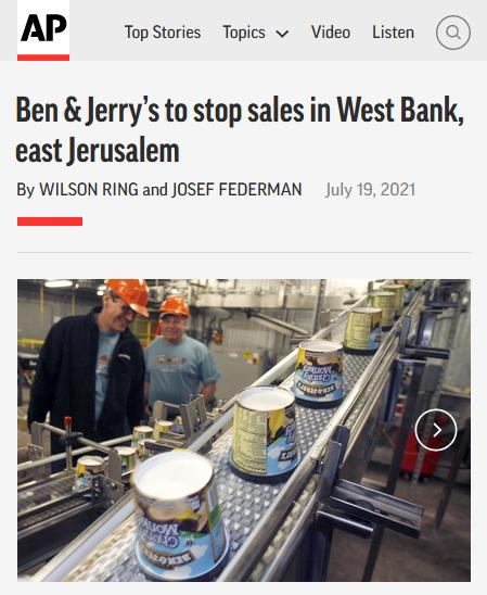 AP: Ben & Jerry's to Stops Sales in West Bank, East Jerusalem