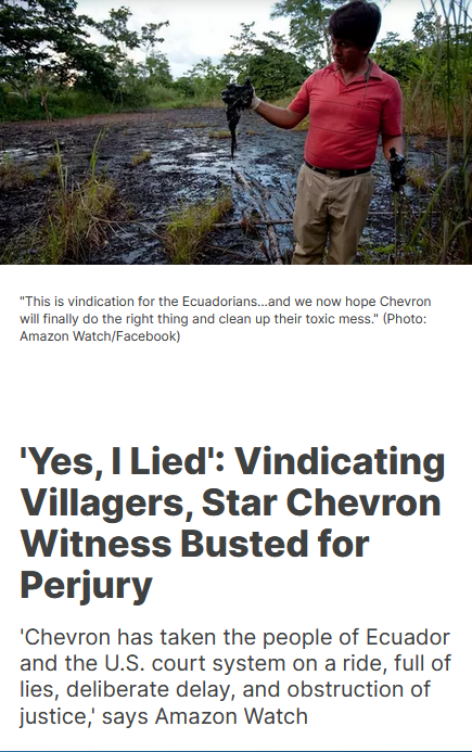 Common Dreams: 'Yes, I Lied': Vindicating Villagers, Star Chevron Witness Busted for Perjury
