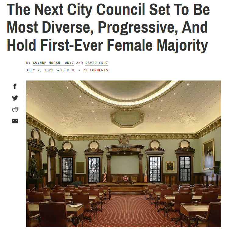 Gothamist: The Next City Council Set To Be Most Diverse, Progressive, And Hold First-Ever Female Majority