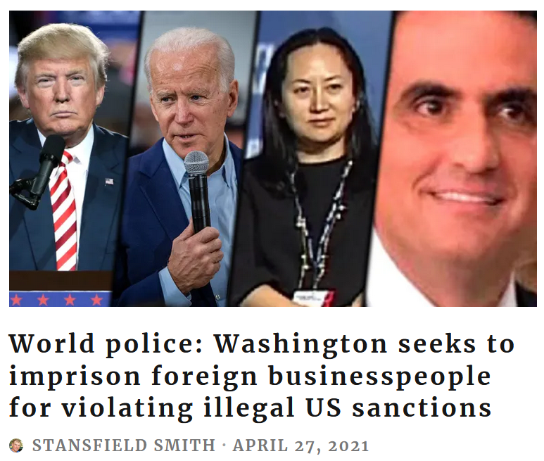 Grayzone: World police: Washington seeks to imprison foreign businesspeople for violating illegal US sanctions