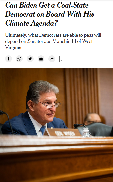 NYT: Can Biden Get a Coal-State Democrat on Board With His Climate Agenda?