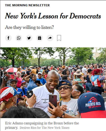 NYT: New York's Lesson for Democrats