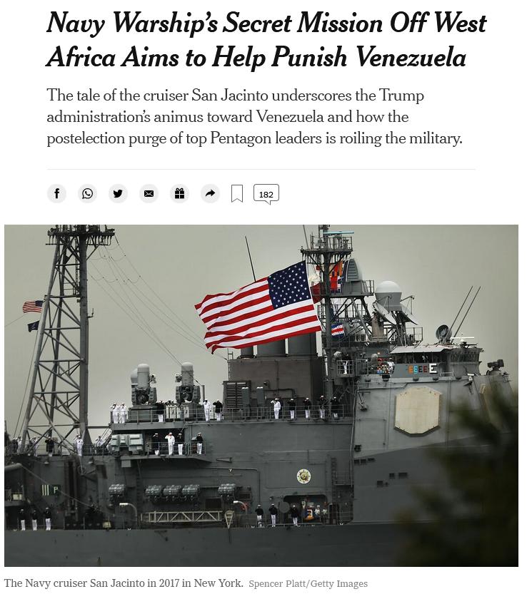 NYT: Navy Warship's Secret Mission Off West Africa Aims to Help Punish Venezuela