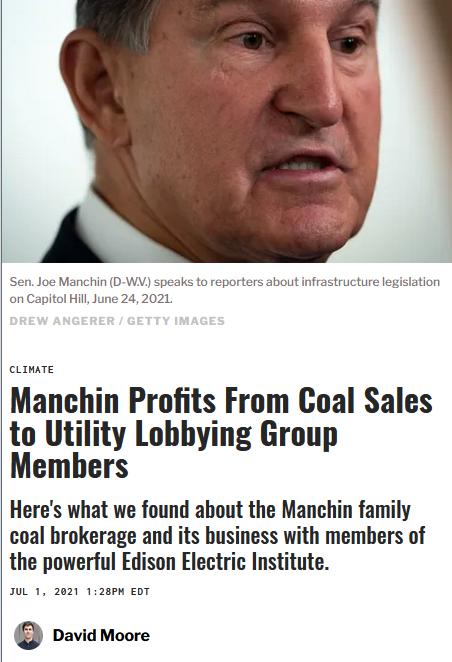 Sludge: Manchin Profits From Coal Sales to Utility Lobbying Group Members