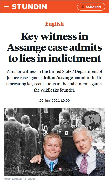 Stundin: Key witness in Assange case admits to lies in indictment