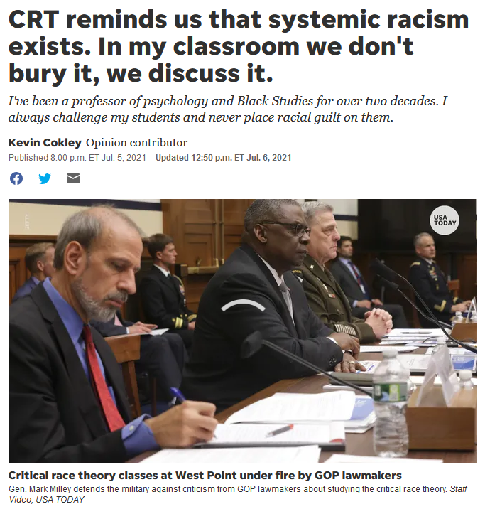 USA Today: CRT reminds us that systemic racism exists. In my classroom we don't bury it, we discuss it