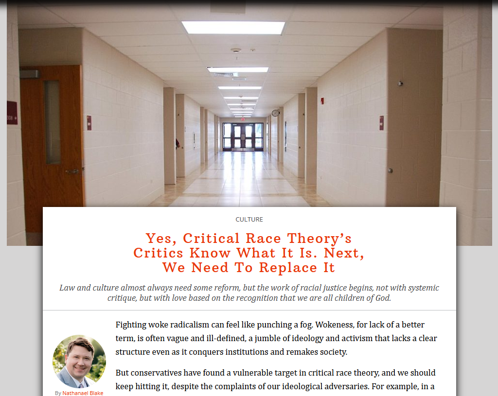 CRT: Yes, Critical Race Theory's Critics Know What It Is. Next, We Need To Replace It