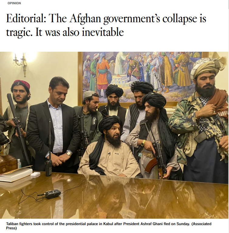 LAT: The Afghan government's collapse is tragic. It was also inevitable