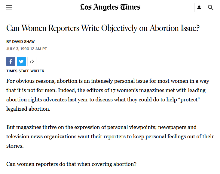 LAT: Can Women Reporters Write Objectively on Abortion Issue?