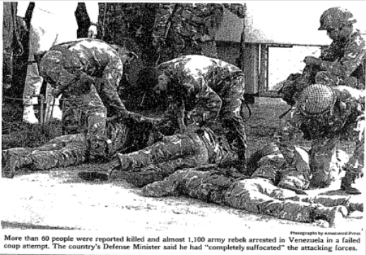 New York Times photo of the aftermath of the unsuccessful 1992 coup in Venezuela