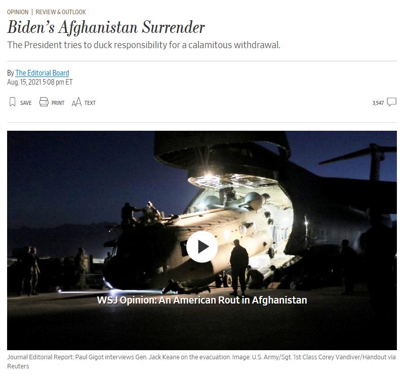 WSJ: Biden's Afghanistan Surrender