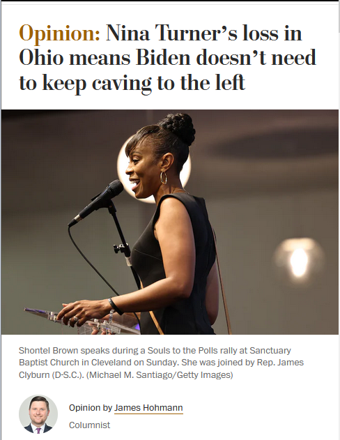 WaPo: Nina Turner's loss in Ohio means Biden doesn't need to keep caving to the left