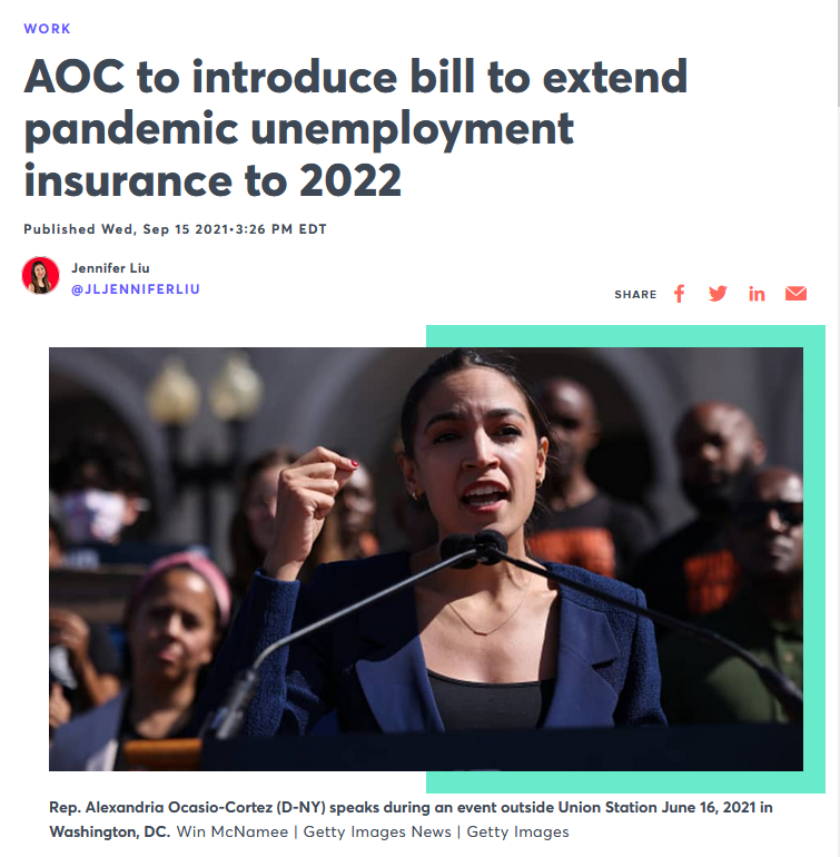 CNBC: AOC to introduce bill to extend pandemic unemployment insurance to 2022