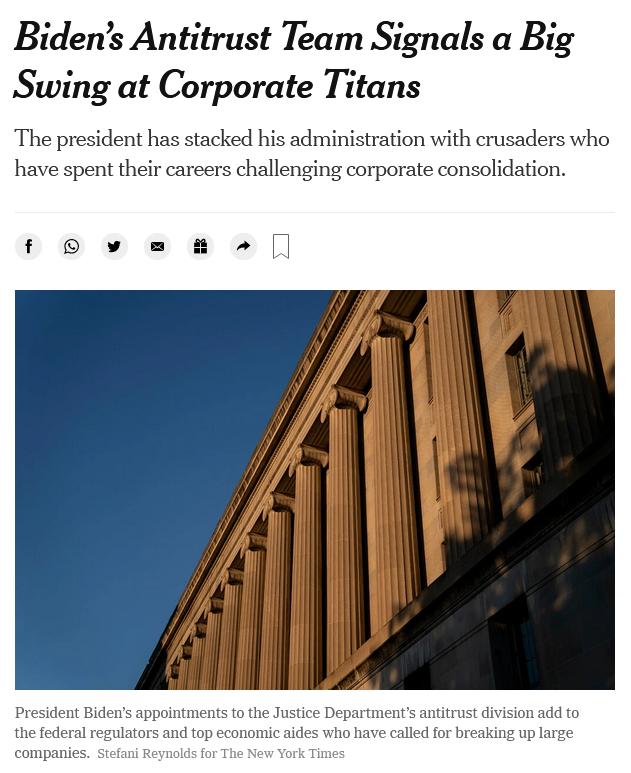 NYT: Biden's Antitrust Team Signals a Big Swing at Corporate Titans