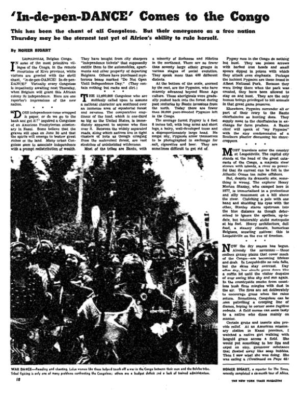 NYT: In-de-pen-DANCE comes to the Congo