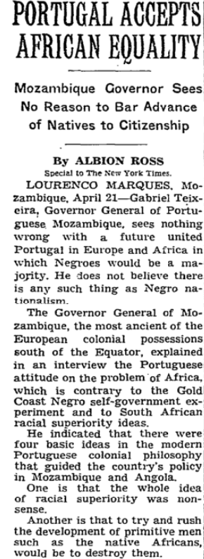 NYT: Portugal Accepts African Equality