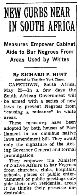NYT: New Curbs Seen in South Africa