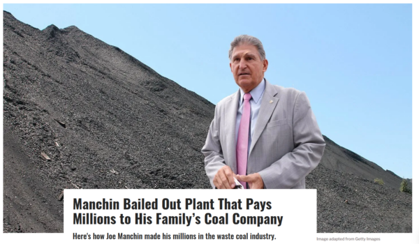 Sludge: Manchin Bailed Out Plant That Pays Millions to His Family's Coal Company
