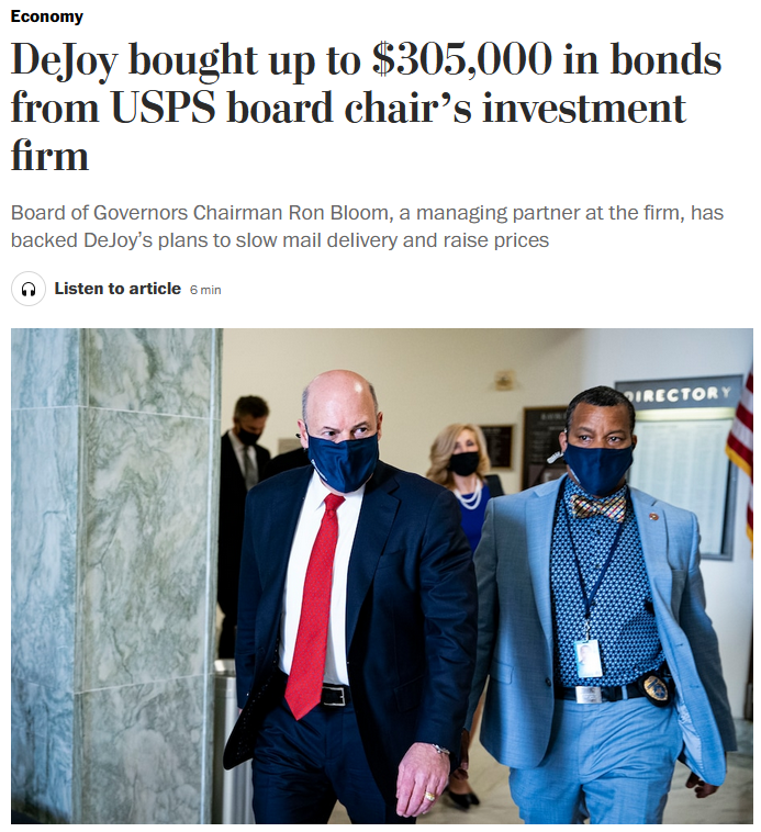 WaPo: DeJoy bought up to $305,000 in bonds from USPS board chair's investment firm